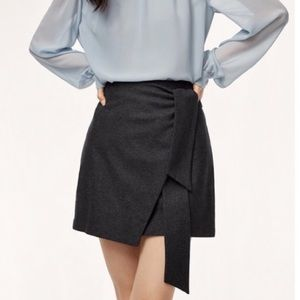 Aritzia Wilfred Dorine Wrap Front Mini Skirt Striped Charcoal Gray, size 4